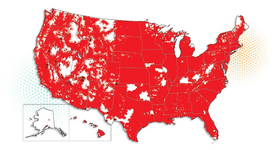 Nationwide Coverage On Americas Top G LTE Network Total Wireless - Cell phone network coverage map