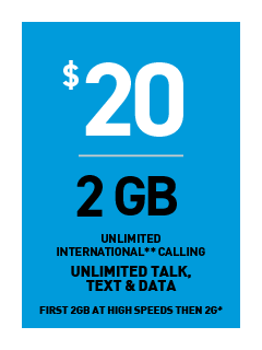 b706a5a63  20 plan with 1 Gigabytes of data at 4G LTE speed and then at 2G.