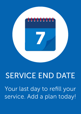 Service end date link, add a plan today